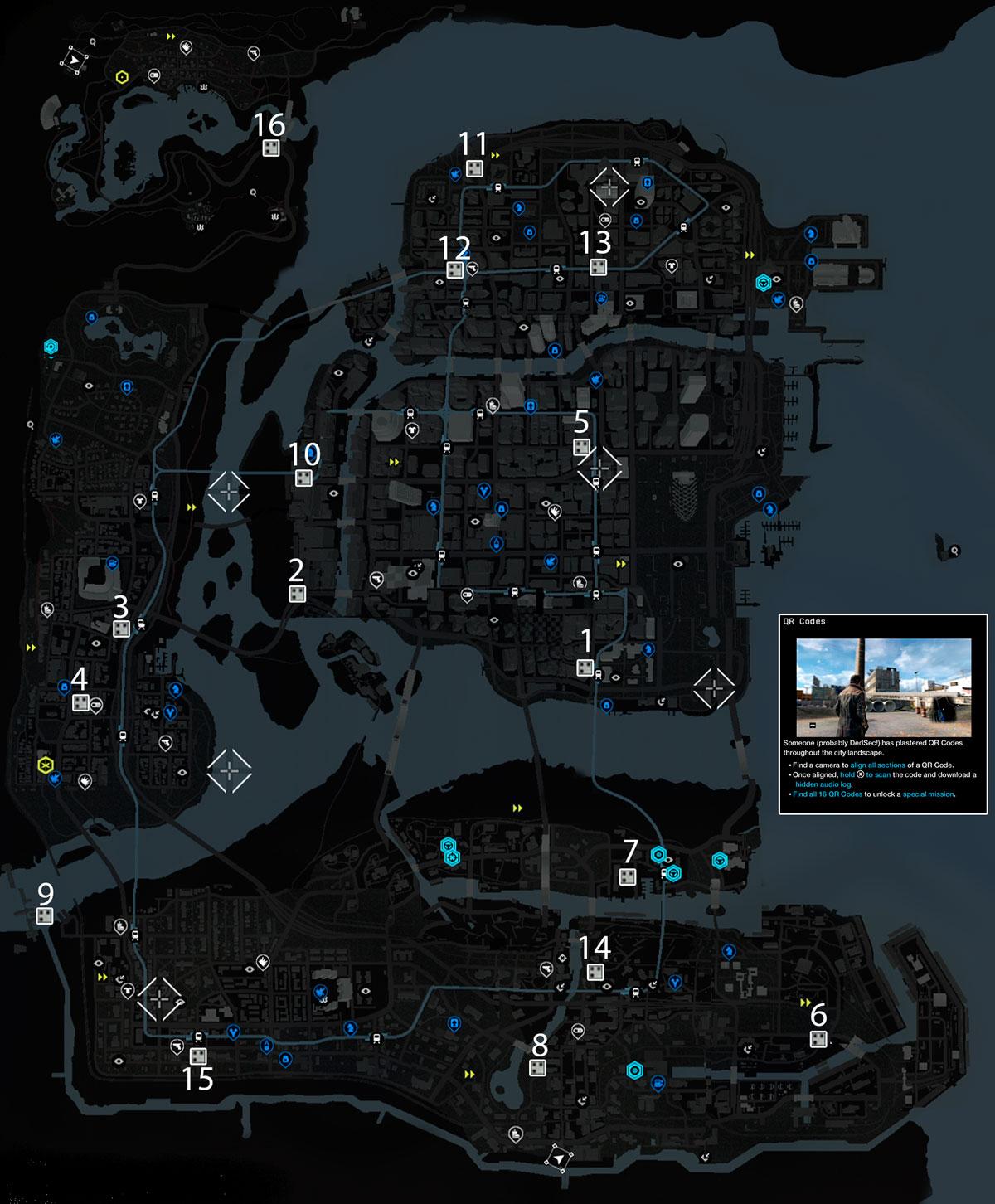 Месторасположение всех QR-кодлв на карте Чикаго